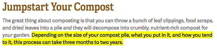 How long it takes to compost